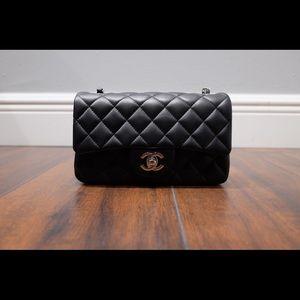 Chanel Black Lambskin Mini Rectangular CF Flap SHW
